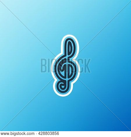Line Treble Clef Icon Isolated On Blue Background. Colorful Outline Concept. Vector