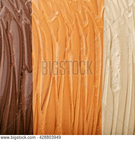 Clear Watery Gel Texture Of Cosmetic Moisturizing Product On Different Skin Tones Color Background.