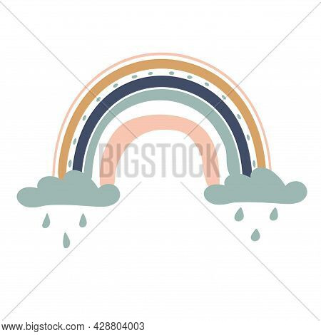 Rainbow Illustration With Clouds And Rain For Babies. Cute Design Element For Children's Room. Print