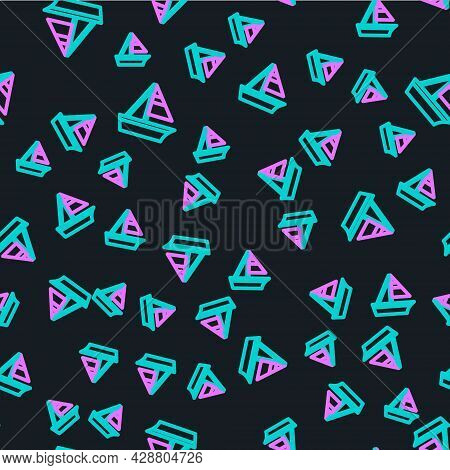 Line Yacht Sailboat Or Sailing Ship Icon Isolated Seamless Pattern On Black Background. Sail Boat Ma