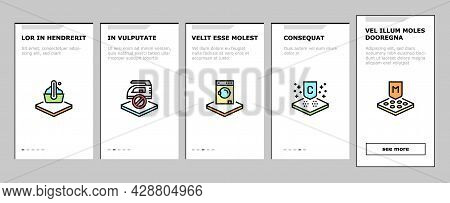 Fabrics Properties Onboarding Mobile App Page Screen Vector. Elastic And Stretched, Warm And Cool, A