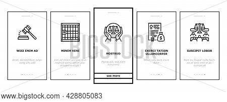 Law Justice Dictionary Onboarding Mobile App Page Screen Vector. Family And Social Norms, Leasing An