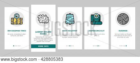 Textile Production Onboarding Mobile App Page Screen Vector. Silk Thread And Clothing Textile Produc