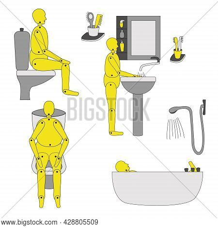 Bathroom With Toilet, Shower, Mirror And Sink And Accessories. Vector Illustration. Isolated. The Ma