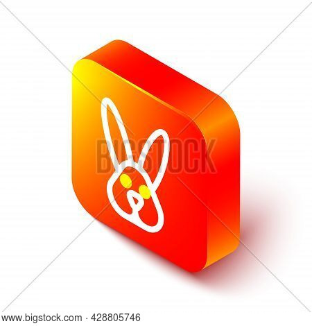 Isometric Line Animal Cruelty Free With Rabbit Icon Isolated On White Background. Orange Square Butt
