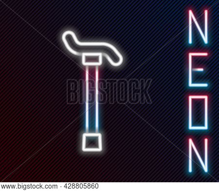 Glowing Neon Line Walking Stick Cane Icon Isolated On Black Background. Colorful Outline Concept. Ve