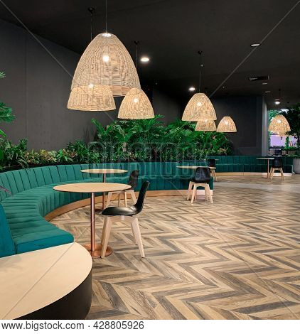 Contemporary Interior Design Of A Public Building Space With Wooden Floor And Chandelier, Modern Fur