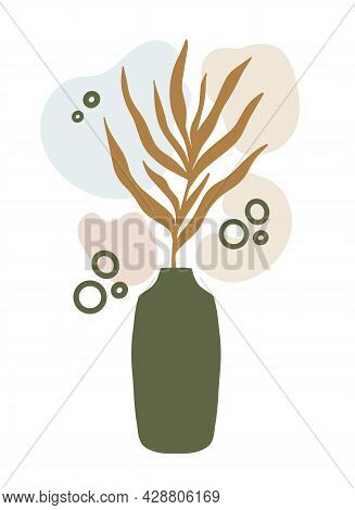 Abstract Botanical Composition Collage With Vase, Palm Leaf Plant Branch Silhouette, Irregular Organ