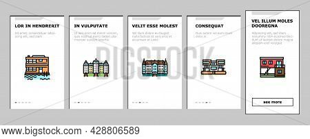 House Constructions Onboarding Mobile App Page Screen Vector. Townhome House And Mobile Home, Villa