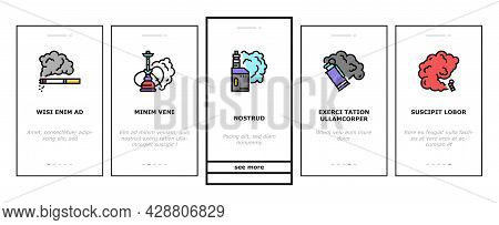 Pets Domestic Animal Onboarding Mobile App Page Screen Vector. Dog And Cat Pets, Horse And Donkey, P