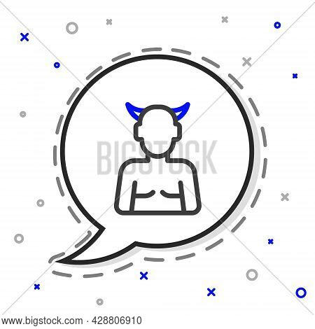 Line Krampus, Heck Icon Isolated On White Background. Horned Devil. Traditional Christmas Devil. Hap