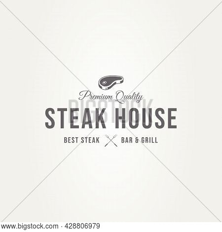 Vintage Steak House Logo With Silhouette Raw Meat And Letter X Fork. Badge Template Vector Illustrat