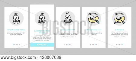 Eyelashes Extension Onboarding Mobile App Page Screen Vector. Applying And Correction Eyelashes, Pat