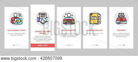 Law Notary Advising Onboarding Mobile App Page Screen Vector. Law Advisor And Agreement, Government