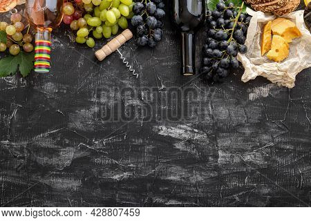 Mediterranean Wine Drinks And Food Ingredients Long Web Banner. Different Rose Red Wines In Bottles.