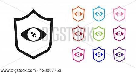 Black Shield Eye Scan Icon Isolated On White Background. Scanning Eye. Security Check Symbol. Cyber