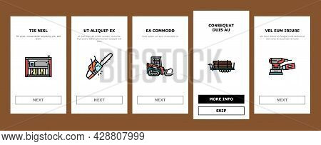 Sawmill Cut Service Onboarding Mobile App Page Screen Vector. Sawmill Equipment For Cutting Wooden T