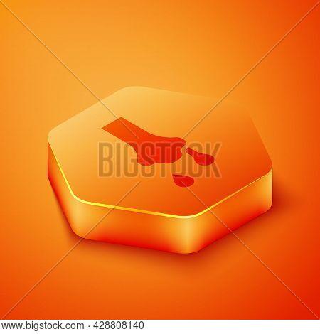 Isometric Runny Nose Icon Isolated On Orange Background. Rhinitis Symptoms, Treatment. Nose And Snee