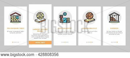 Mineral Wool Material Onboarding Mobile App Page Screen Vector. Glass And Basalt Mineral Wool, Therm