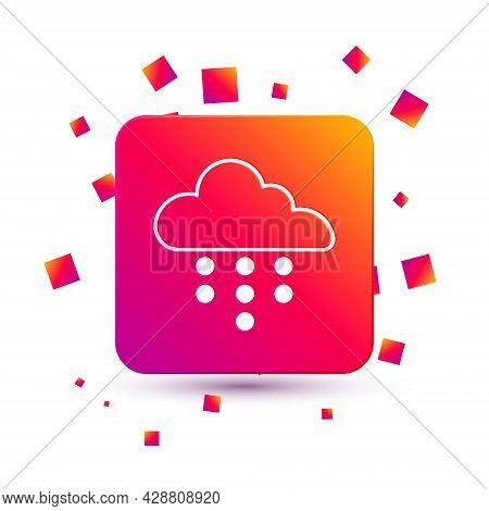 White Cloud With Rain Icon Isolated On White Background. Rain Cloud Precipitation With Rain Drops. S