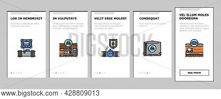 Pipeline Construction Onboarding Mobile App Page Screen Vector. Installation And Repair Pipeline Con
