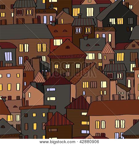 Panorama view old town at night in brown seamless pattern, vector