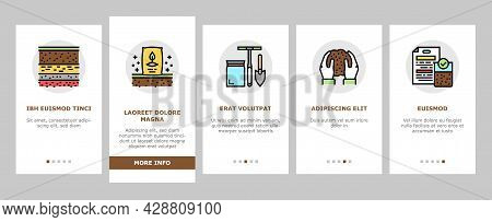 Soil Testing Nature Onboarding Mobile App Page Screen Vector. Soil Testing Equipment And Ph Device,