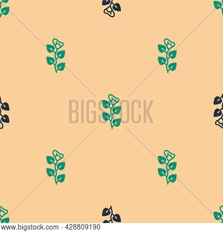 Green And Black Ivy Branch Icon Isolated Seamless Pattern On Beige Background. Branch With Leaves. V