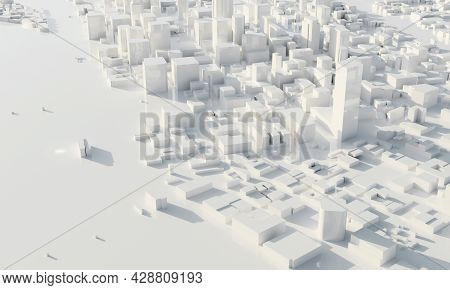 Skyscraper And Metropolis City In Monochrome. Architecture And Business City Plan Concept. Low Polyg
