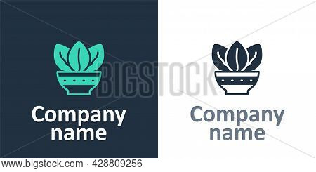 Logotype Plant In Pot Icon Isolated On White Background. Plant Growing In A Pot. Potted Plant Sign.
