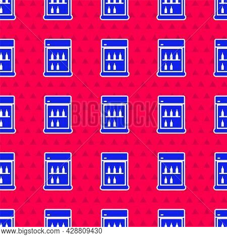 Blue Commercial Refrigerator To Store Drinks Icon Isolated Seamless Pattern On Red Background. Peris