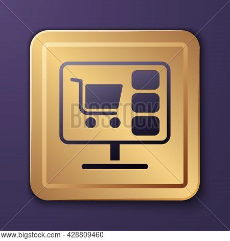 Purple Shopping Cart On Screen Computer Icon Isolated On Purple Background. Concept E-commerce, E-bu