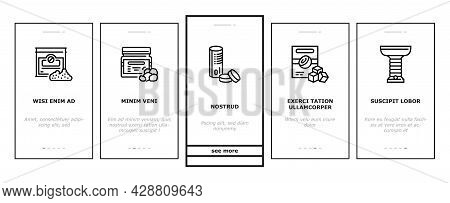 Hookah Tobacco Smoking Onboarding Mobile App Page Screen Vector. Nicotine-free And Charcoal For Smok