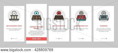 Roof Replacement Job Onboarding Mobile App Page Screen Vector. Metal And Wooden Roof Replacement, In