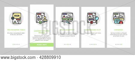 Visa For Traveling Onboarding Mobile App Page Screen Vector. Business And Transit Visa, Permitting D
