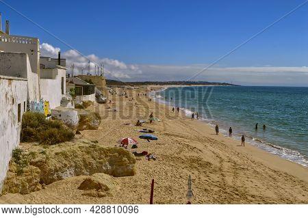 Armacao De Pera Beach, Algarve, Portugal - October 8, 2014 : Armacao De Pera Beach On The Algarve Co