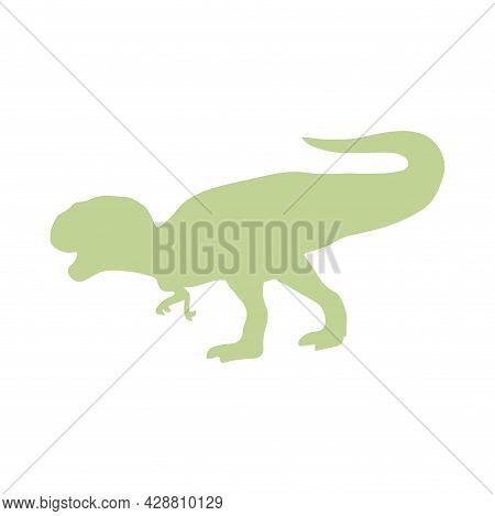 Silhouette Of Tyrannosaurus Rex Dinosaur. Large Extinct Ancient Carnivorous Reptile, Jurassic. Print