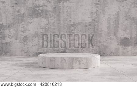 Black And White Stone Pattern Single Product Stage Podium For Presentation Mockup Template. Showroom