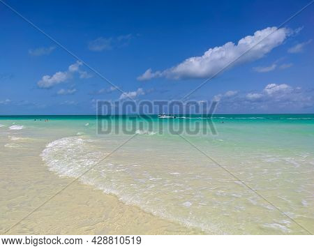 Cayo Guillermo, Cuba, 16 May 2021: People Swim In The Azure Waters Of The White Pilar Beach On The I