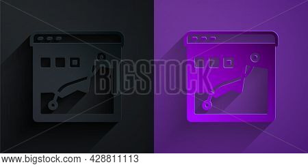 Paper Cut Histogram Graph Photography Icon Isolated On Black On Purple Background. Paper Art Style.