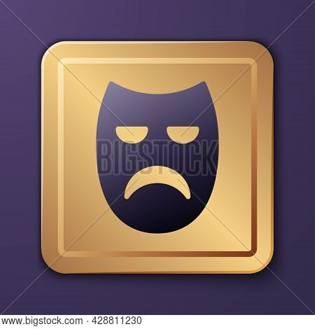 Purple Drama Theatrical Mask Icon Isolated On Purple Background. Gold Square Button. Vector