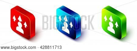 Isometric Web Design And Front End Development Icon Isolated On White Background. Red, Blue And Gree