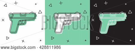 Set Pistol Or Gun Icon Isolated On White And Green, Black Background. Police Or Military Handgun. Sm