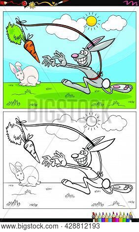 Cartoon Illustration Of Dangle A Carrot Saying Or Proverb With Rabbit Comic Character Coloring Book