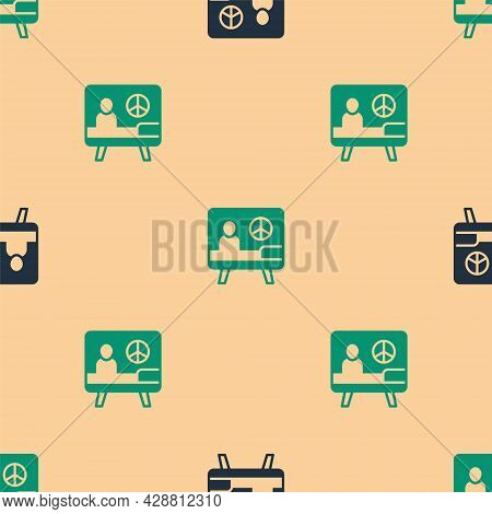 Green And Black Peace Icon Isolated Seamless Pattern On Beige Background. Hippie Symbol Of Peace. Ve