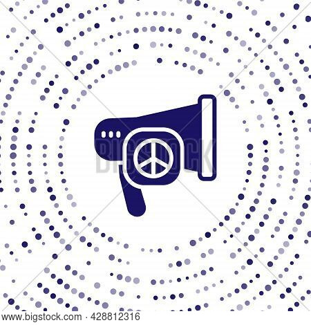 Blue Peace Icon Isolated On White Background. Hippie Symbol Of Peace. Abstract Circle Random Dots. V