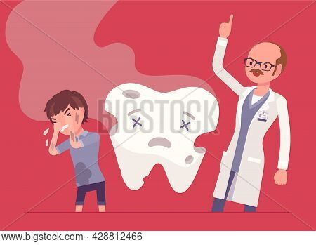 Child Boy, Angry Dentist Doctor And Unhealthy Rotten Tooth Smell. Male Stomatologist Scloding Child