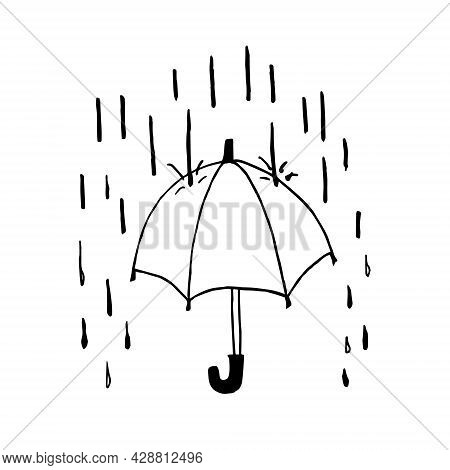Doodle Umbrella In The Rain On A White Background Is Isolated