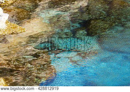Mediterranean Sea Beach. White Sand Beach. Summer Day Seascape. Clear Water Texture. Aerial View, Su