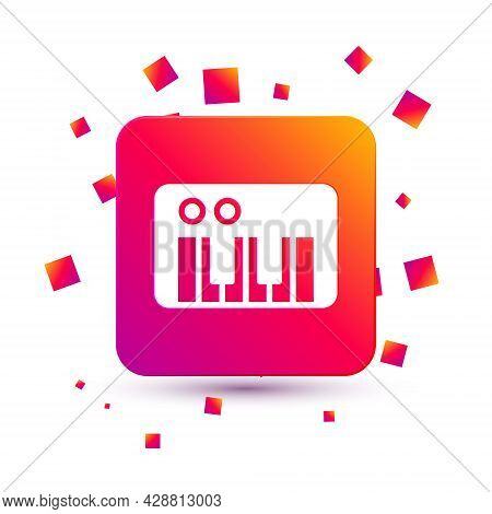 White Music Synthesizer Icon Isolated On White Background. Electronic Piano. Square Color Button. Ve
